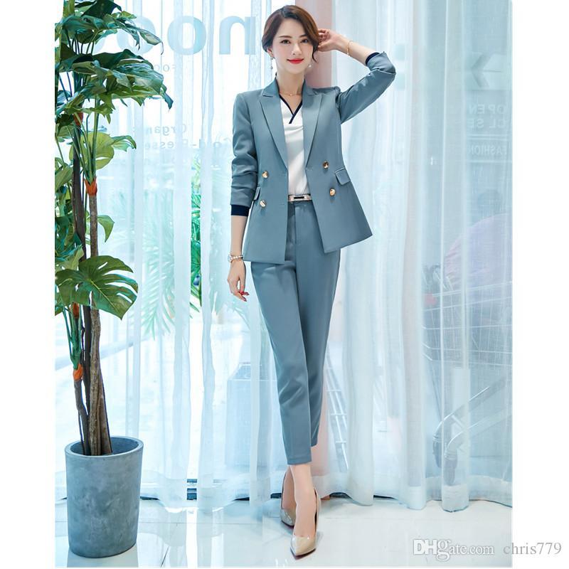 Pantaloni da donna tuta primavera e autunno tuta nuova tuta da ufficio nuova moda femminile sottile doppio petto vestito temperamento