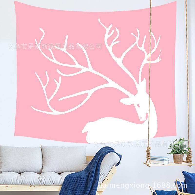 Cabeza de ciervo de dibujos animados Colgando Ropa de tela Dormitorio Decoración Pintura Tapicería Metope Fondo Tela Puede Una pieza de