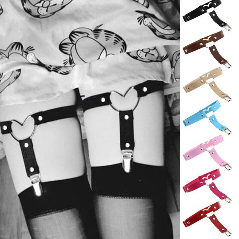 Pierna cadena de cuero atractivo del corazón Harajuku punk amor liga de la pierna del calcetín del arnés ajustable cosplay Bondage la joyería gótica para el tobillo del pie del anillo