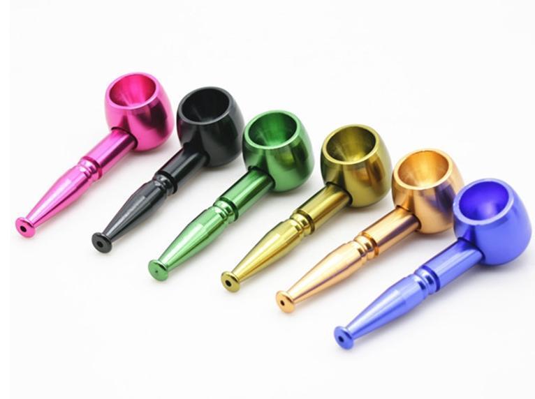 Kuru Herb için Alüminyum Alaşım Renkli Sigara Pot Borular 94.5mm uzunluk Taşınabilir Metal Jamaika Tütün Sigara Borular