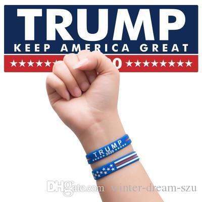 2020 Donald Trump Pulseira Mantenha América Grande com bandeira americana Presentes Presidente Silicone Pulseiras Pulseiras Xmas para mulheres dos homens M180Y