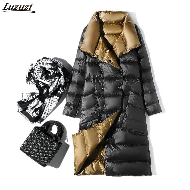 Luzuzi Women Double Sided Down Long Jacket Winter Turtleneck White Duck Down Coat Double Breasted Warm Parkas Snow Outwear
