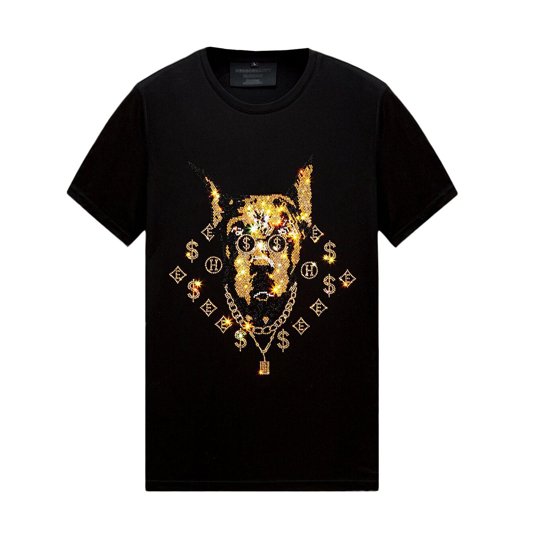 Çok Desenli Yaz Rhinestone T-shirt Erkekler Için Ekip Boyun Kısa Kollu Merserize Pamuk Kısa Kollu Streetwear Slim Fit Tee Gömlek