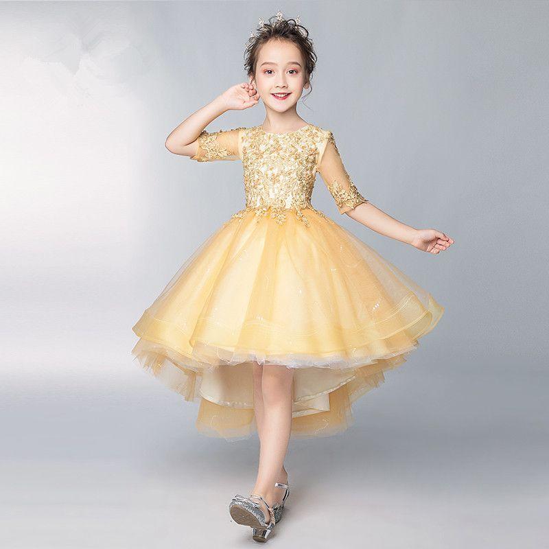 Girls Runway Dress Kids Girl Gold Trail Dresses for Party Princess Birthday Gift 2020 Children's Wedding Dress Cosplay Costume S372