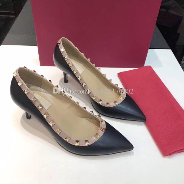 Freies Verschiffen mit Kasten 2019 Art und Weise Luxus-Designer-Frauen Brautschuhe High Heels 6.5cm spitzen Zehen Pumpen Rotunterseiten Kleid Schuhe