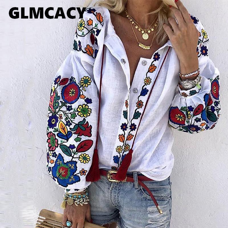 Mulheres Vire gola Boho manga comprida Étnico Floral Impresso Blusas Casual solta shirt de algodão de linho Tops Y200103