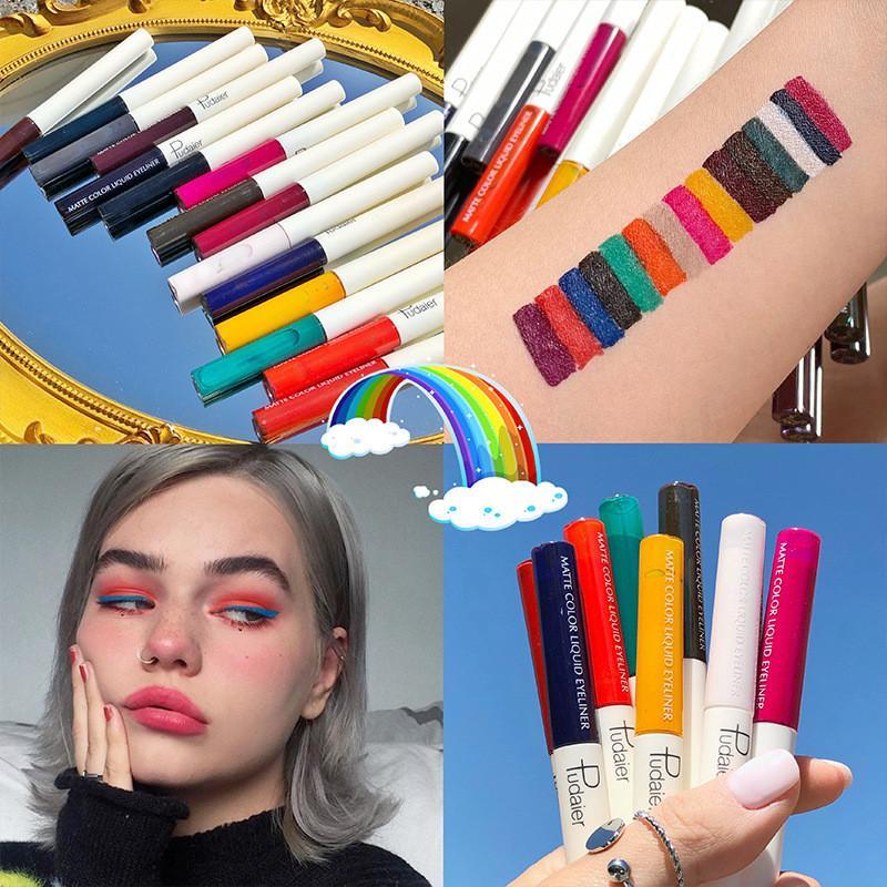 Neon Likit Eyeliner Makyaj Su geçirmez Hızlı Kuru Renkli Likit Eyeliner Mat Renkli Göz Liner Kalıcı 15 Renk Uzun
