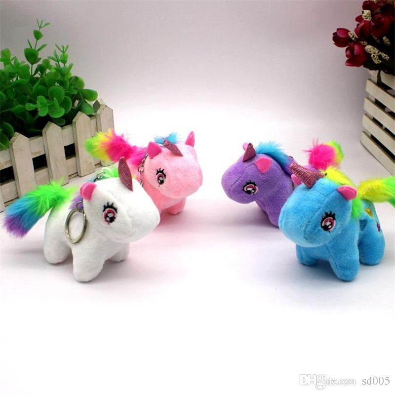 Unicorn Keychain Car Bag Keys Buckle Child Plush Toy Key Ring Small Doll Pendant Lovely More Color White Pink Creative Hot Sales 3 5zp C1