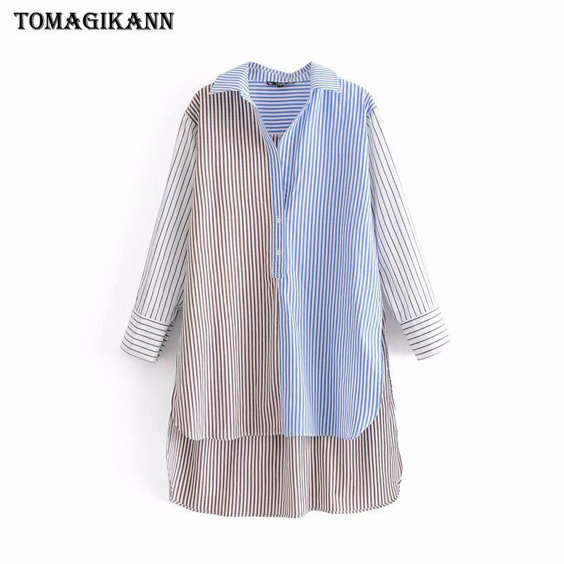 Blusa a rayas de contraste Mujeres Top 2019 Delantera Corta espalda Camisa empalmada larga Blusas Camisa con cuello doblado Manga larga Chemise Femme