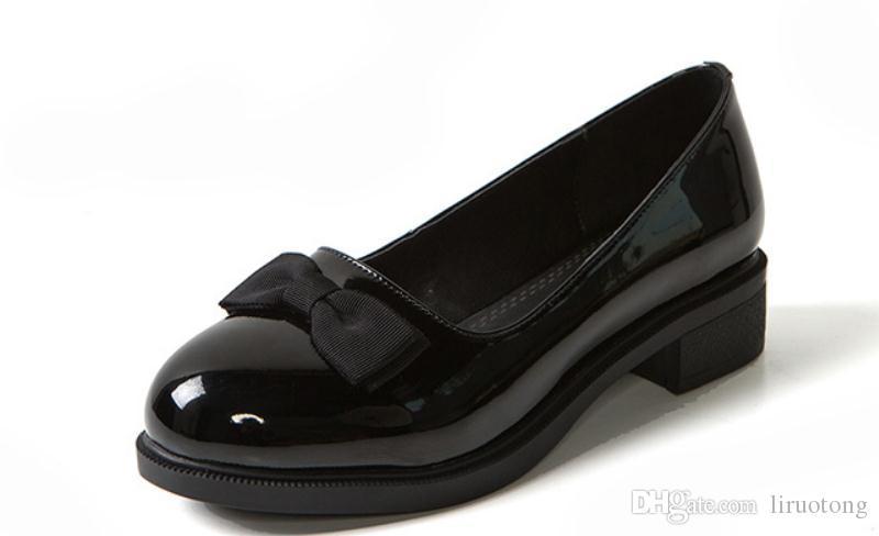 2019 Chaussures femmes au printemps et à l'automne avec nouveau style talon bas tête ronde talon gros bowknot Table imperméable à l'eau @ 2302