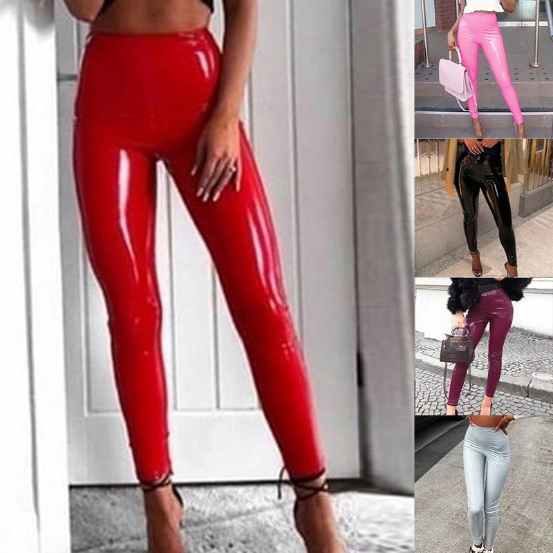2020 calças de couro de Nova Mulheres cintura alta PU Leggings Feminino Shinny Calças Lápis Elastic Crotch Calças roupas femininas