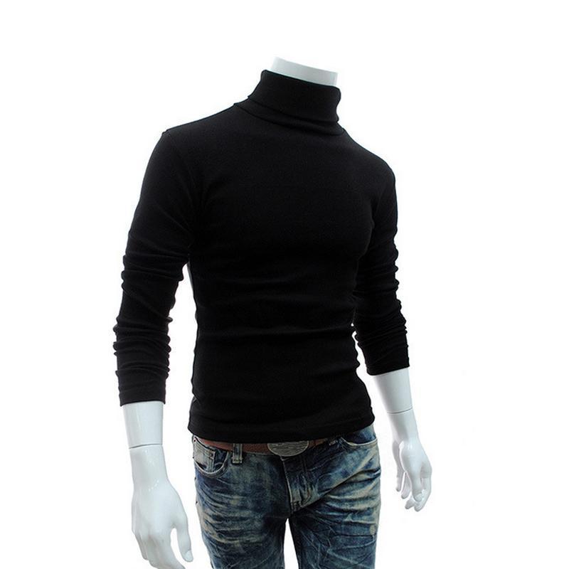 Mens Moda Outono-Inverno Turtleneck Camisolas Preto capuz Roupa para o homem de algodão camisola de malha masculinas Camisolas Puxe Hombre XXL