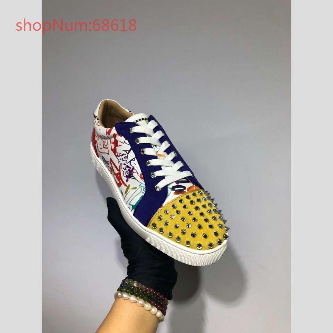 Paare exklusive Designer flache Schuhe Hot Verkauf Echte Leder Freizeitschuhe Modetrend Rivet Damen Herren Schuhe Größe 35-46