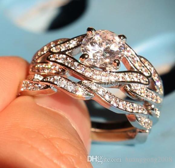 Belas jóias por atacado Genuine 2ct Topaz Diamonique Cz 10KT White Gold Filled Gf Simulado de noivado de diamante Wedding Ring Set.