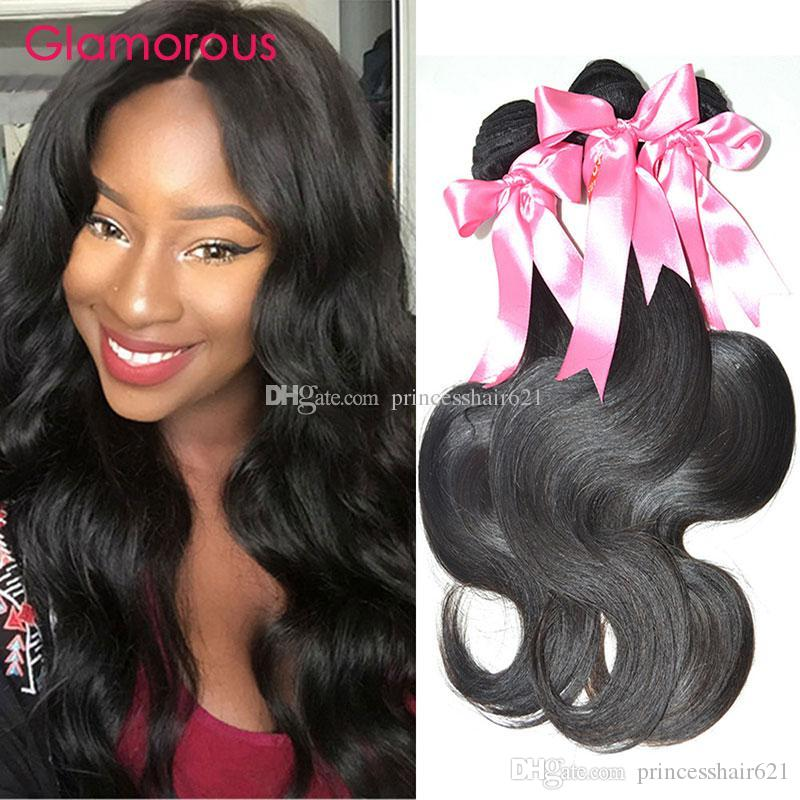 Glamouröse brasilianische Haarkörperwelle Wellenförmige Haarverlängerungen 3 Bündel Beste Verkauf von 100g Jungfrau Peruanian Malaysian Indianer Remy Human Hair Weaves