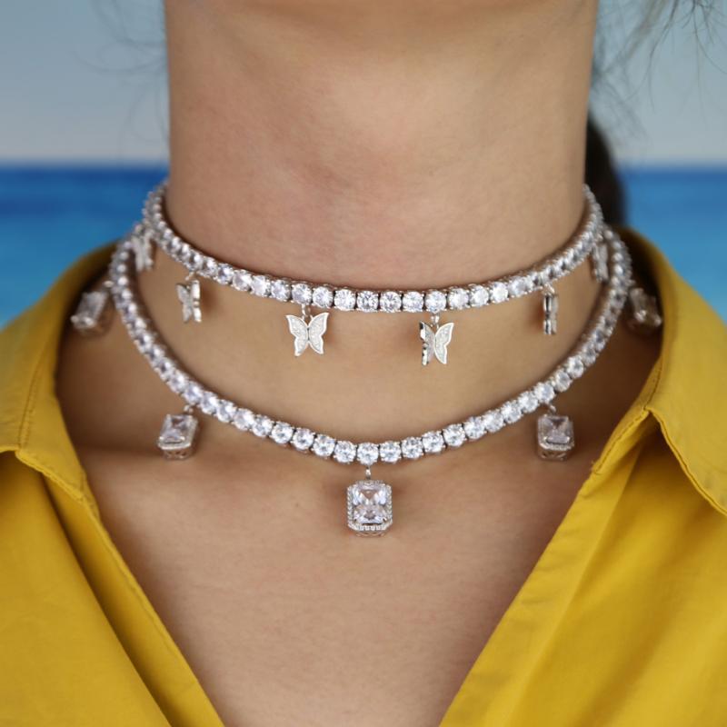 La flecha del corazón cadena de tenis de la CZ con el goteo de cz encanto de mariposa 32 + 10 cm collares gargantilla Bling hacia fuera helada de múltiples capas de la joyería mujeres