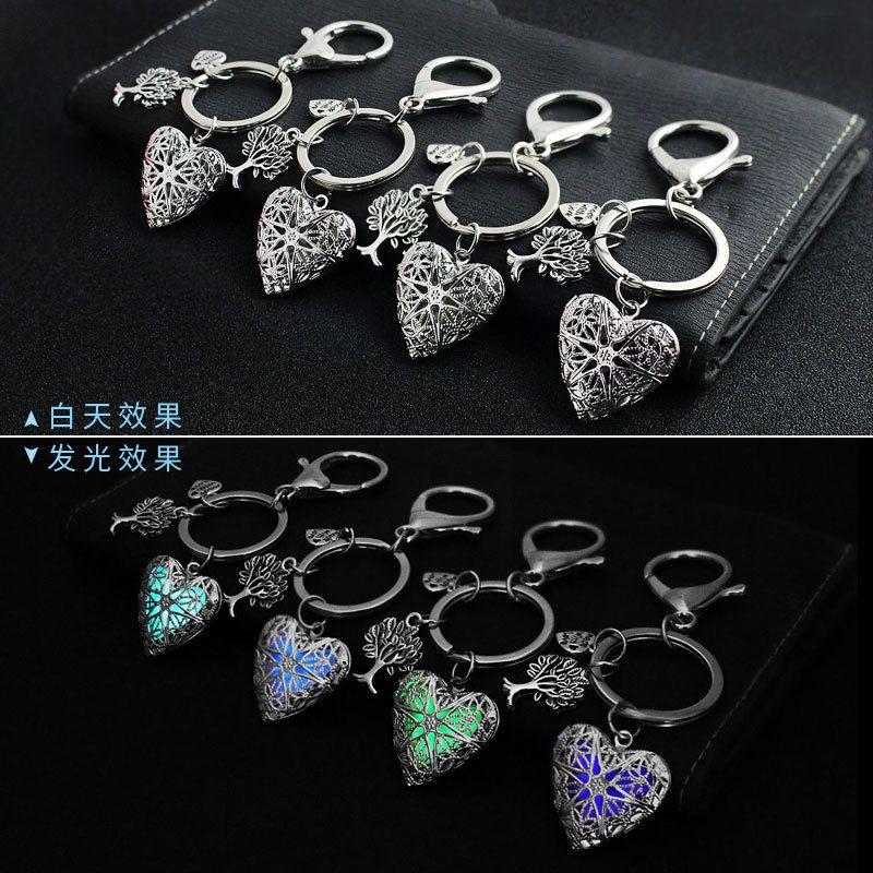 Erkekler için Sevimli Anahtarlık Metal Parlak Hollow Anahtarlık Aydınlık Parlak Şeftali Kalp kolye hediyeler