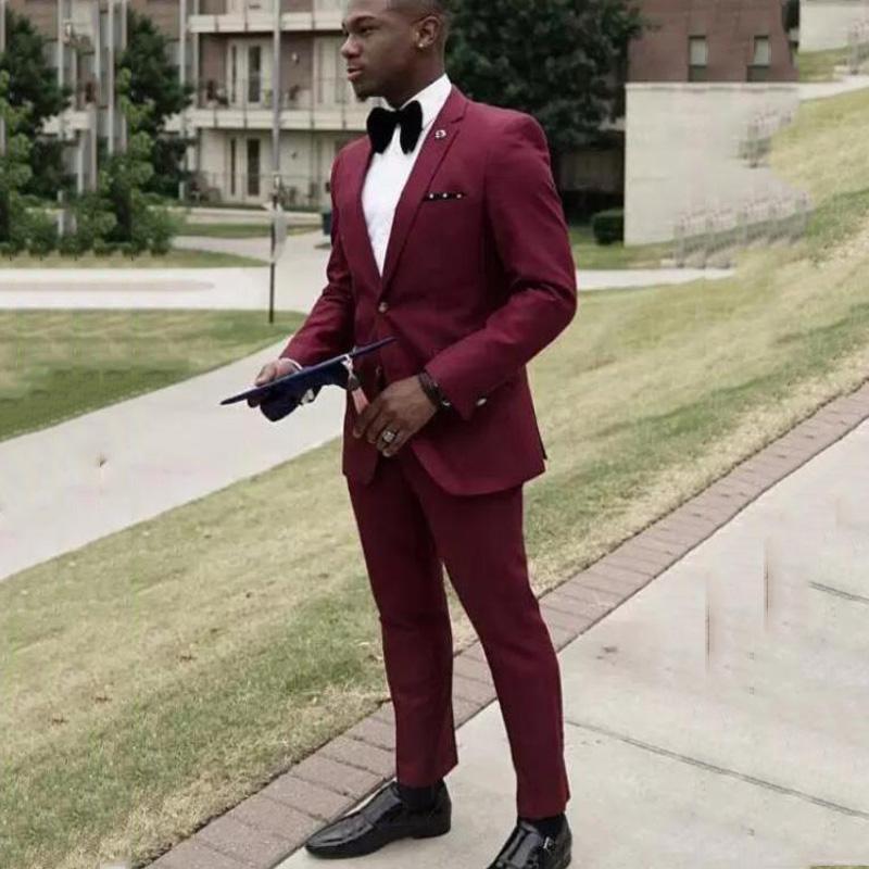 Burgonya Mens Suits 2020 Slim Fit Düğün Smokin Çentikli Yaka Damat Giyim 2 adet (Ceket + Pantolon) Kostüm Homme Blazer