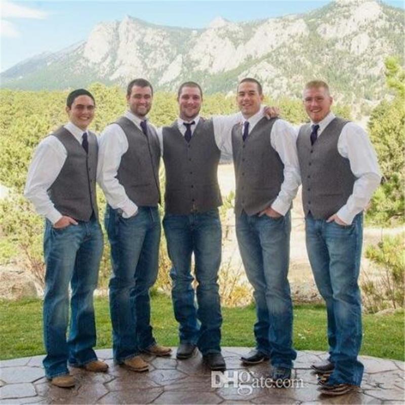Gri Yün Damat Yelek 2020 Çiftliği Düğün Partisi Kıyafet Groomsmen Takım Yelek Slim Fit Erkekler Elbise Takım Elbise Balo Bahçe Yelek Elbise