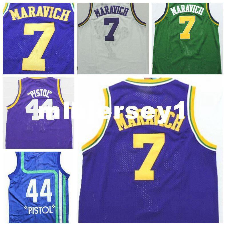 N ° 7 Pete Maravich Jersey Hommes Blanc Vert Bleu Violet Cousu # 44 Pistolet Pete Maravich Maillots De Basket-ball Livraison Gratuite Ncaa College