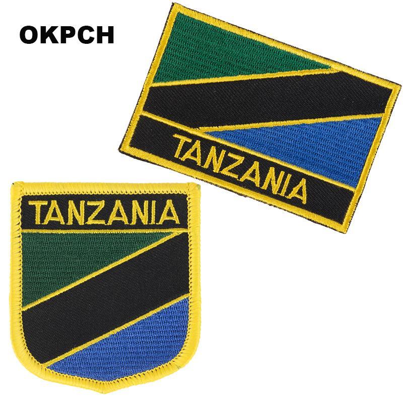 Tanzania bordado Hierro en bandera de parches bandera nacional para la ropa DIY Decoración PT0173-2
