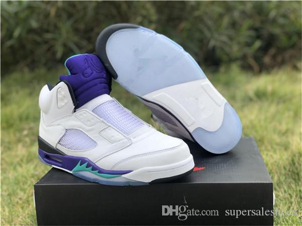 Al por mayor bajo 5 V Príncipe NRG fresco púrpura blanca del baloncesto de los hombres zapatos de las zapatillas de deporte 5s entrenadores deportivos al aire libre