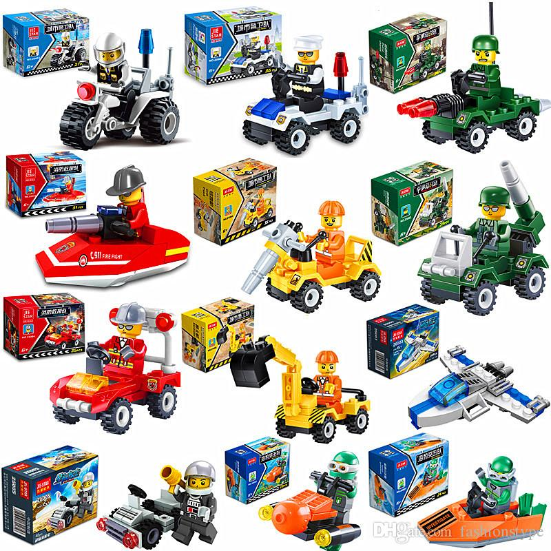 City Series Police Car Fighter Kids Block Toys Mini Educational Building Blocks Toys Compatible With legoing City Kids Toy Gift