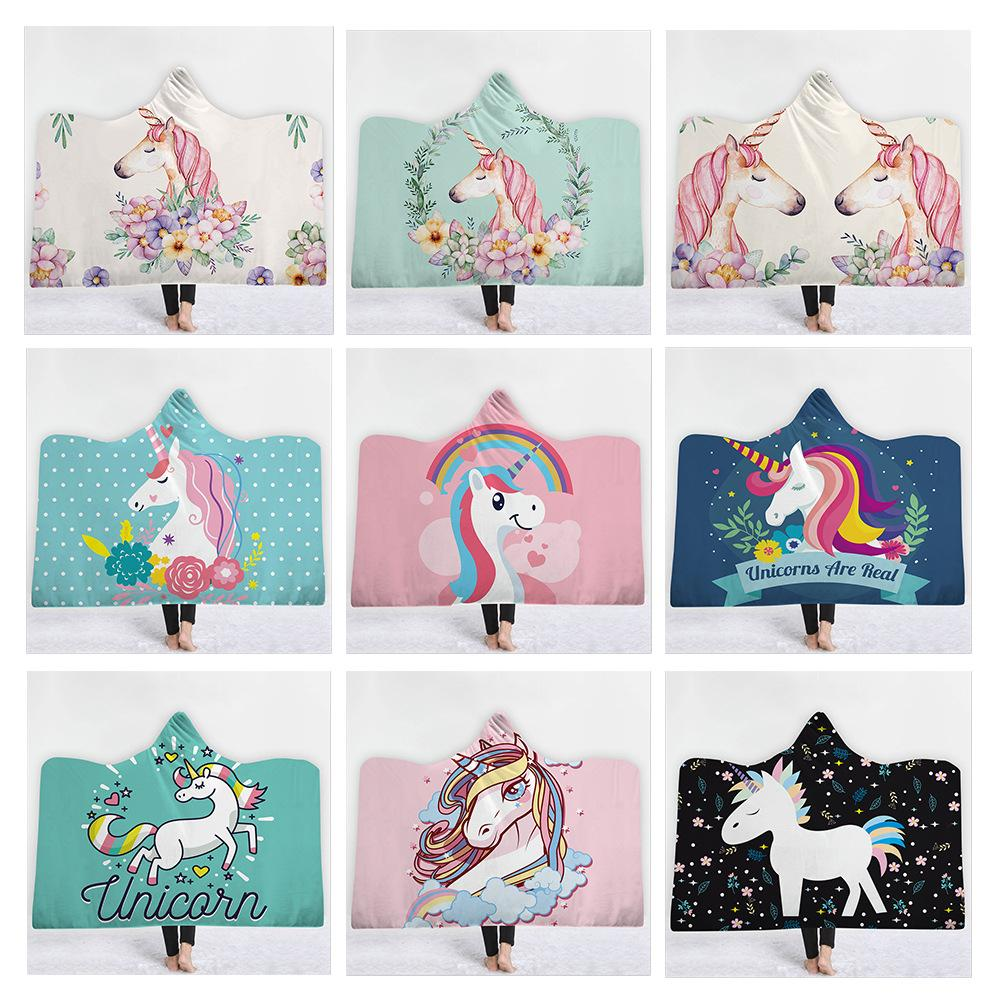 Cobertor com capuz Unicórnio Dos Desenhos Animados do Velo Com Capuz Lance Envoltório Ano Novo Sonhador Crianças Adulto Cobertor Holiday Presente Adulto