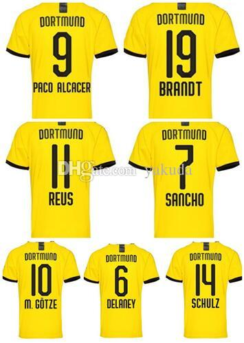 19-20 Özelleştirilmiş HAALAND 17 Tay Kalite Futbol Formalar Reus 11 Sancho 7 Paco Alcacer 9 19 M.Götze 10 Schulz Özel futbol giyer