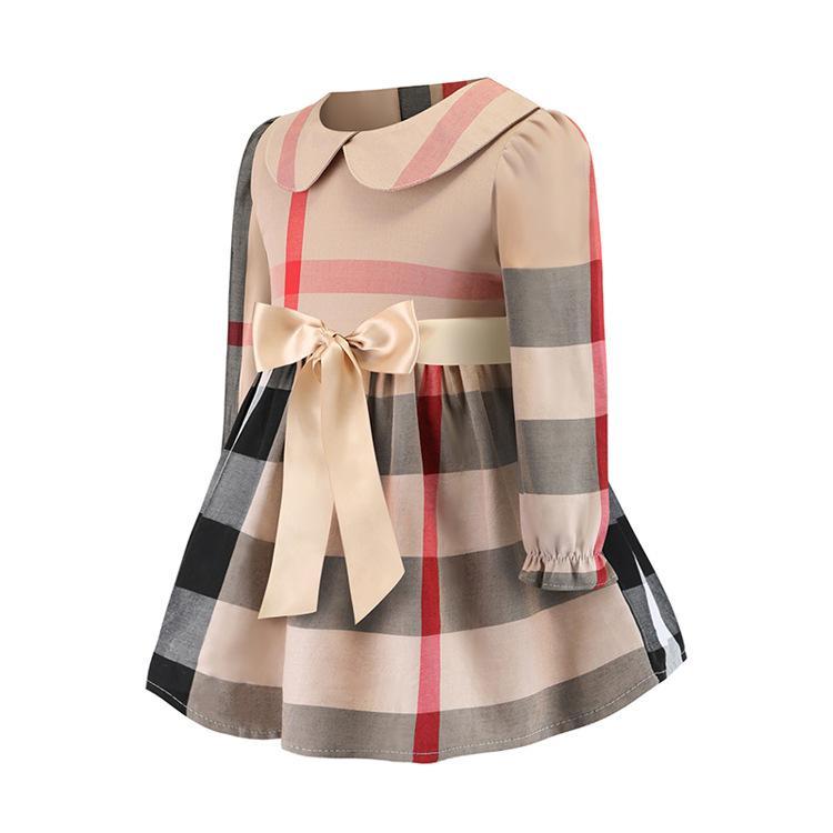 ربيع الخريف ملابس للبنات فستان طويل كم جودة عالية الحيوانات الأليفة بان الياقة اللباس الأنيق فتاة