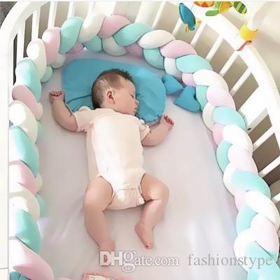 Ins الساخن 2 متر طول الطفل السرير أفخم وسائد السياج الطفل السرير ديكور النقي النسيج أفخم عقدة سرير الوفير حامي الرضع غرفة ديكور