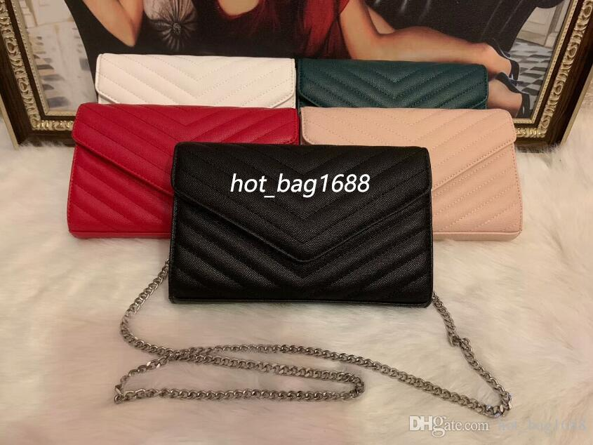 Fashion Caviar leather Woc envelope shoulder bag classic sliver chain singler bags handbags purses
