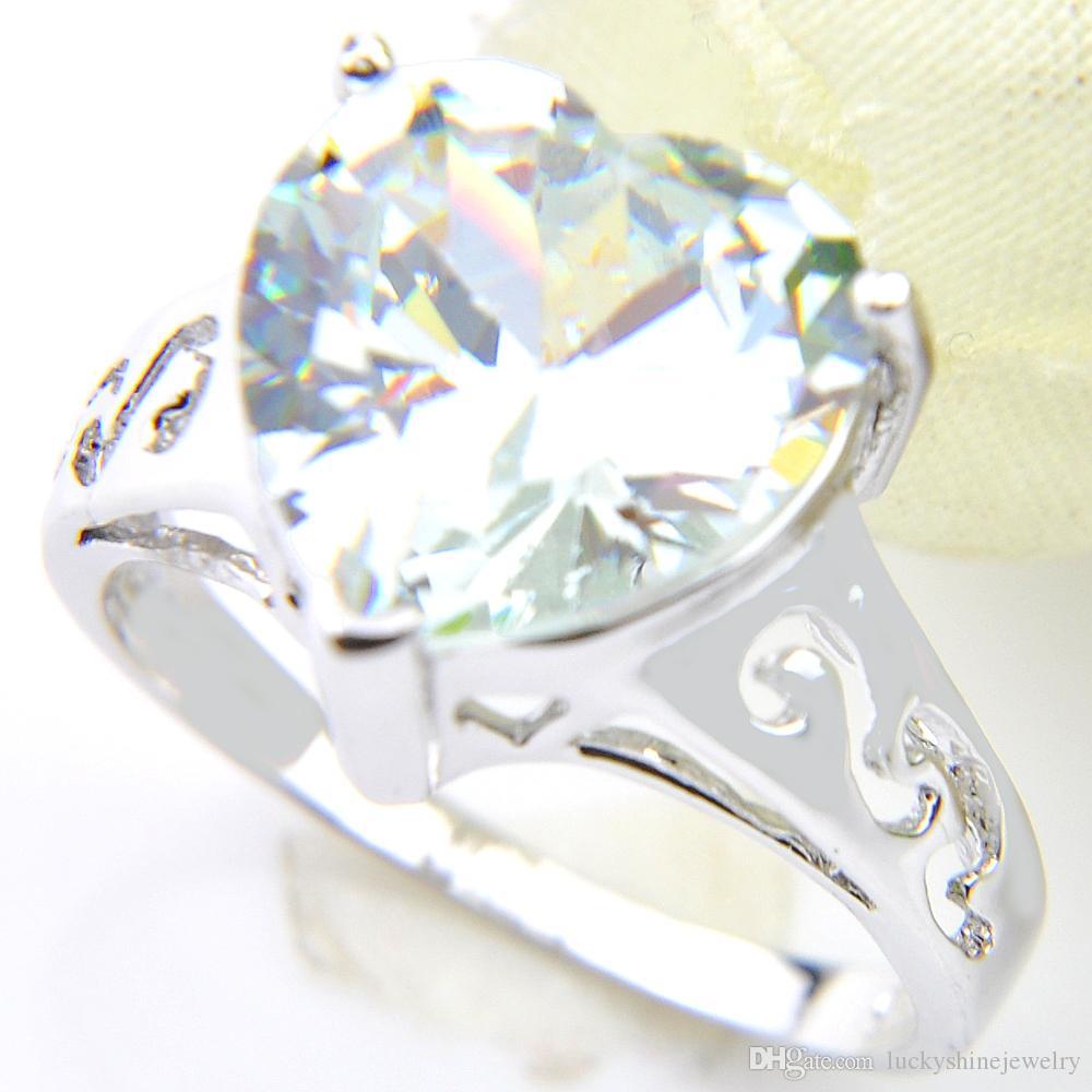 Cúbico de plata 10 PC / porción Luckyshine joyas de moda en forma de corazón negro zirconia gemas 925 para los anillos de boda de las mujeres Tamaño 7 8 9 NUEVO