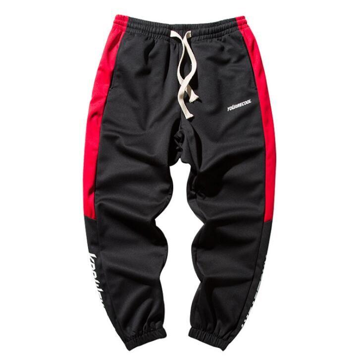 Erkek hip hop pantolon gelgit marka erkek rahat vahşi mektup baskı harem pantolon ayak dokuz pantolon