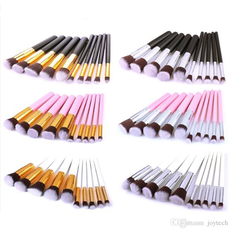 10PCS بنية فرشاة طقم أدوات التجميل فرشاة ظلال العيون كحل مؤسسة شفة فرشاة بودرة أدوات ماكياج
