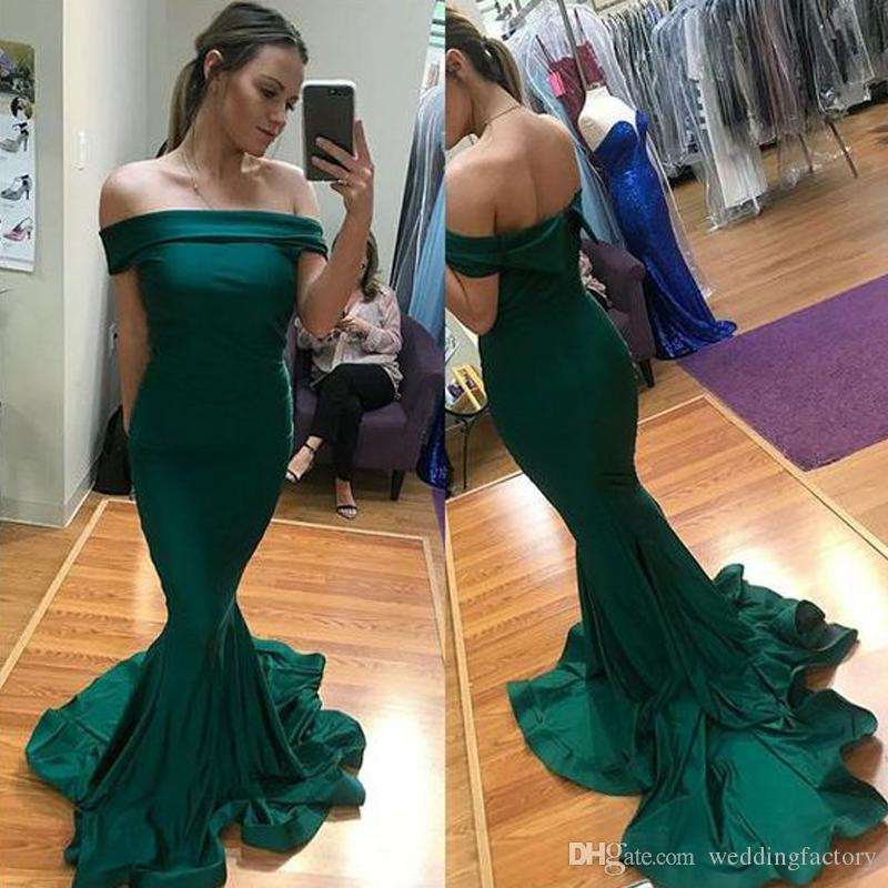 Elegant Fitted Mermaid Evening Dresses Off the Shoulder Zipper up Cheap High Quality Custom Made Prom Party Gowns with Small Train