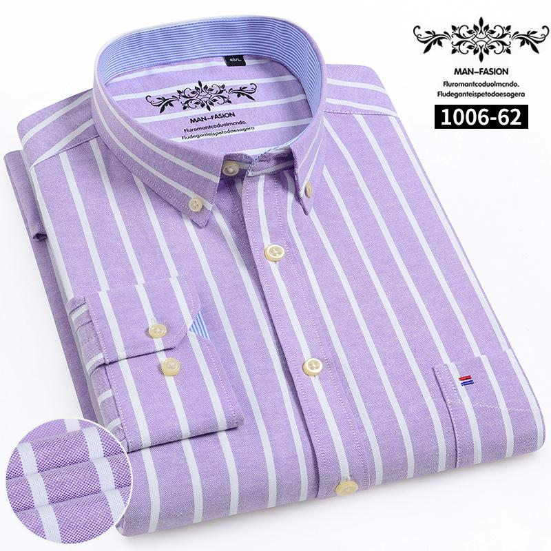 2020 Casual Oxford Hommes Chemise rayée simple poche plaquée à manches longues standard adapter Chemises confortables