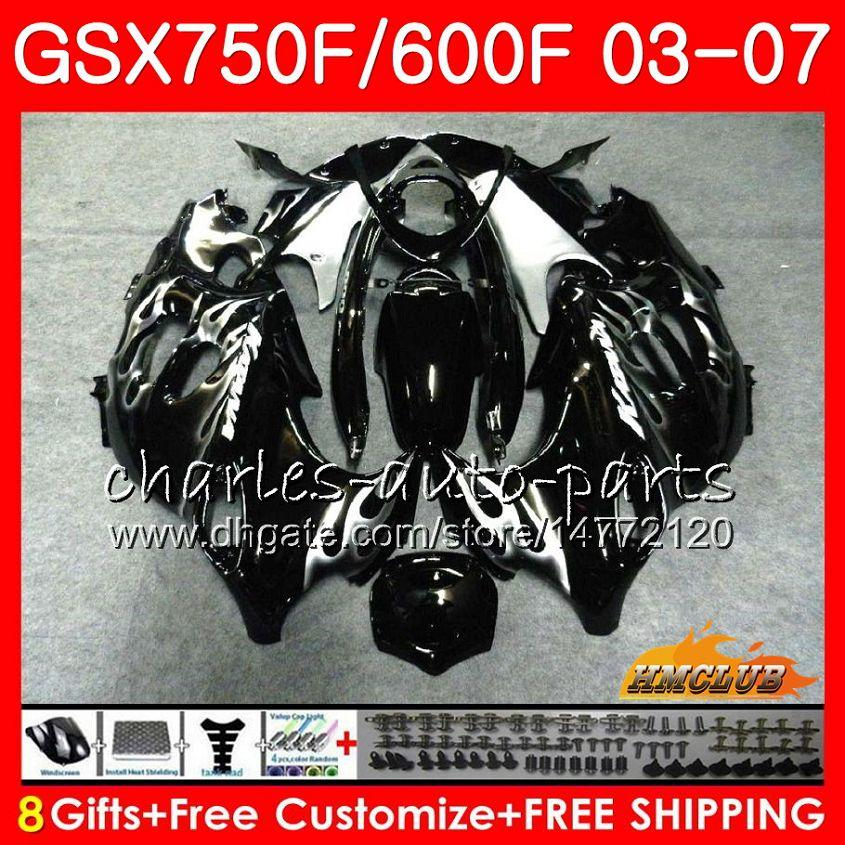 Flammes d'argent du corps pour Suzuki Katana GSXF750 GSXF600 2003 2004 2006 2006 2007 3HC.31 GSX600F GSX750F GSXF 600 750 03 04 05 06 07 Kit de carénage