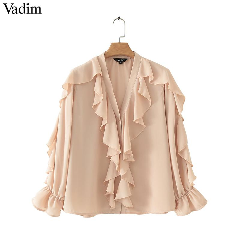 Vadim Women Stylish Chiffon Blouse Ruffled Transparent V Neck Long Sleeve Female Summer Sweet Wear Top Blusas Lb110 SH19062501