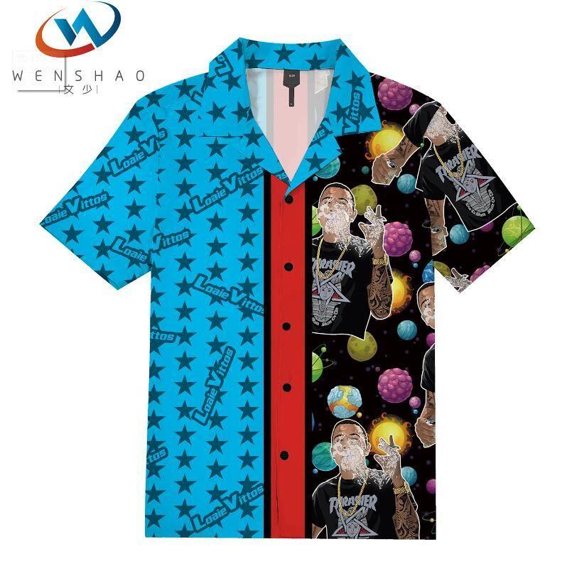 Para hombre de la playa del verano camisa hawaiana 2020 califica la manga corta del tamaño extra camisas florales ocasionales de los hombres de vacaciones vacaciones Ropa Camisas VS3