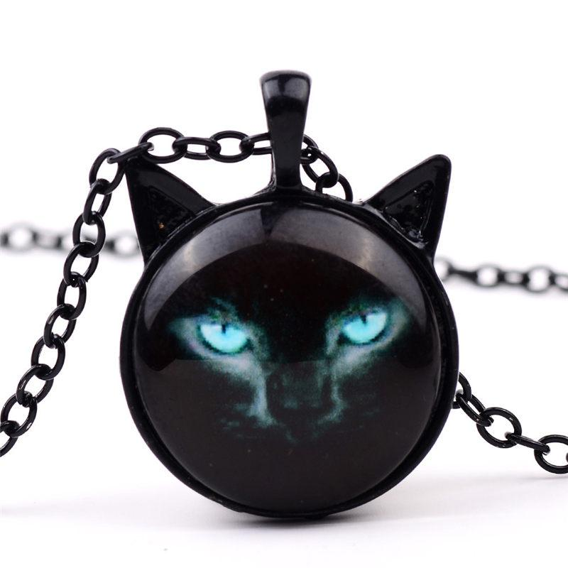 Unique Necklace Glass Cabochon Silver Bronze Chain Necklace Black Cat Picture Vintage Pendant Necklace