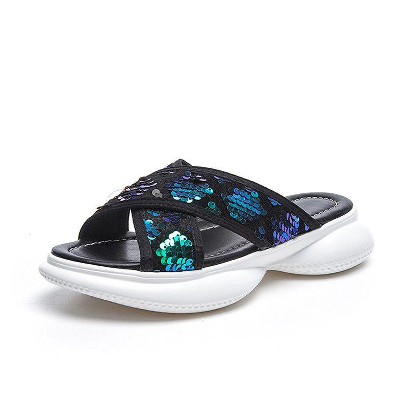 2019 Summer Women's Casual Sequins Non-slip Slippers Beach Cuff Flat Sandals Beach Open Toe Shoes Ladies Shoes Slides 538