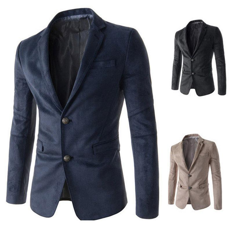 Fashion Men Two Grain of Single Breasted Suede Leisure Suit Coat Leisure Suit 8736