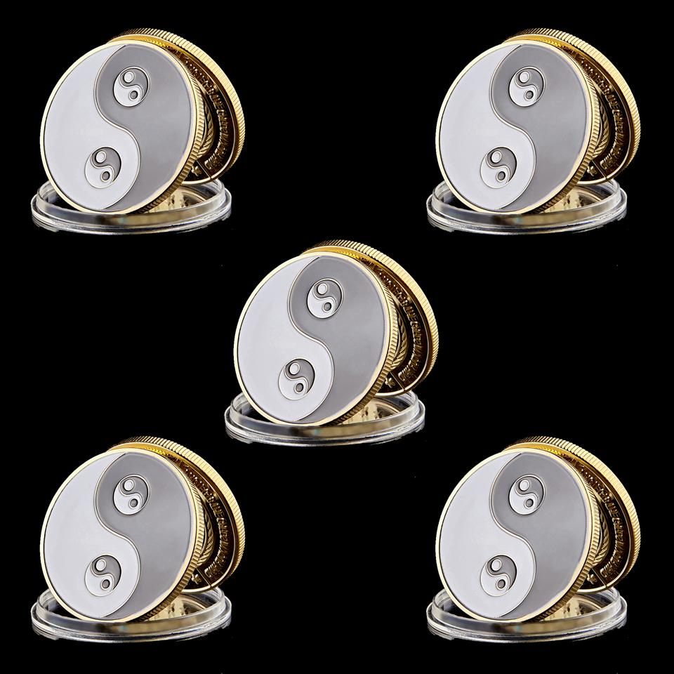 5pcs Commemorative Coins Metal Tai Chi Gossip Card Guard Protector Metal Craft Poker Chips Poker Game Accessories