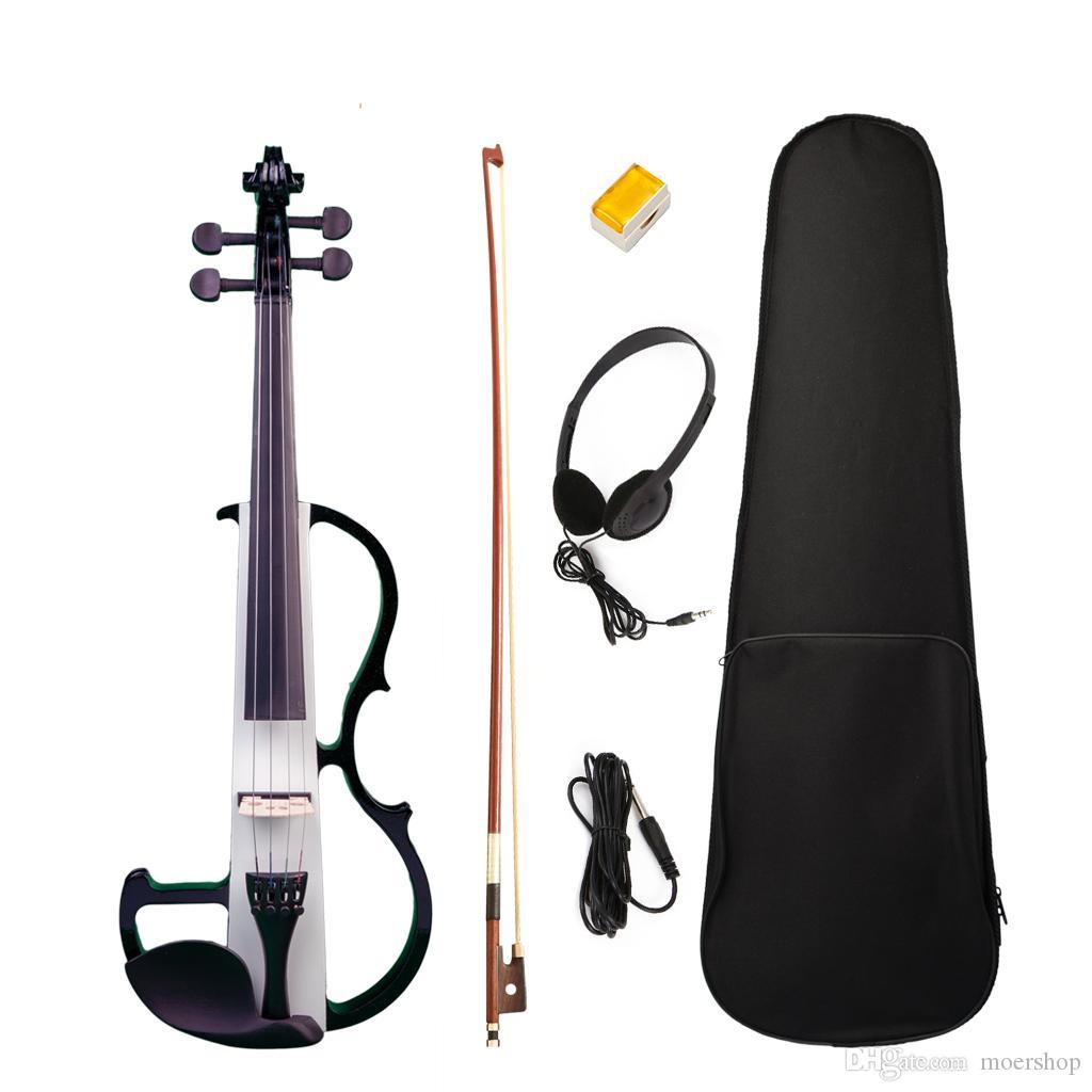 전기 바이올린 풀 사이즈 4/4 사일런트 바이올린 솔리드 우드 W / 보우 케이스 헤드폰 케이블 로진 뉴 세트