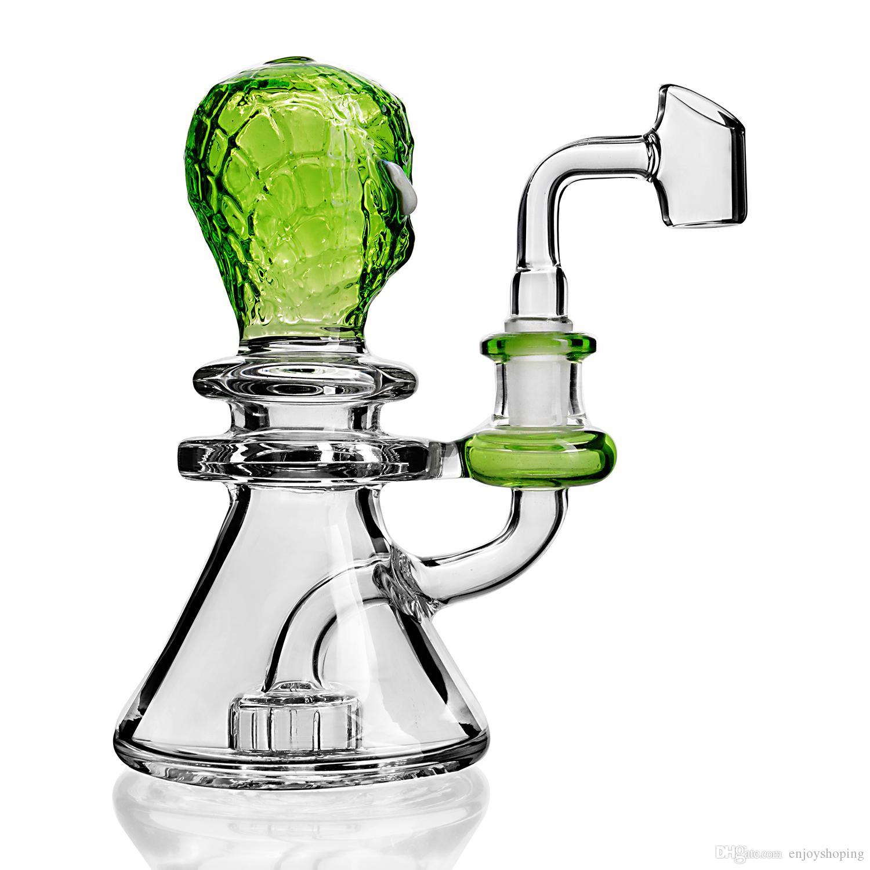 Bong di vetro verde ET Bong mini Dab Rigs Percolater Dab Rig Triangolo inferiore con tubo di acqua di rame Bong di Banger di 14 mm