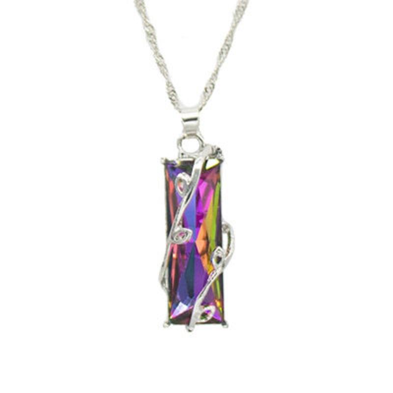 Regenbogen-Stein Baum des Lebens Anhänger-Halskette für Frauen-Männer-langkettige Kristallglas-Blatt Platz Ketten Statement Schmuck Geschenk