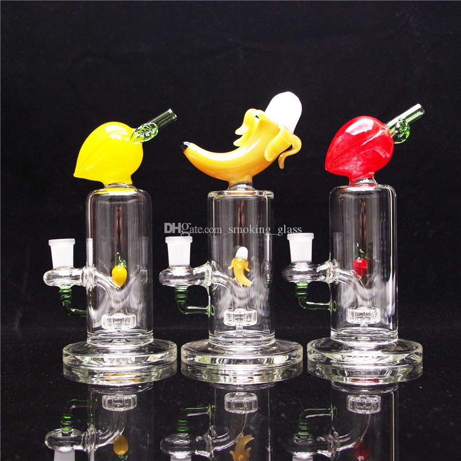 8 polegadas Hookahs Color Frutas Vidro Bongo Banana Tubulação de fumo Recyecler Rig com 1 bacia incluída e 1 quartzo Banger para presente