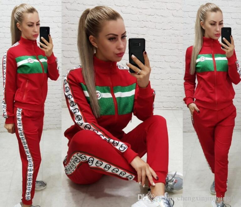 2020 new fashion sports national printing long sleeve T-shirt women's sports suit pencil pants two piece sports suit S-XL