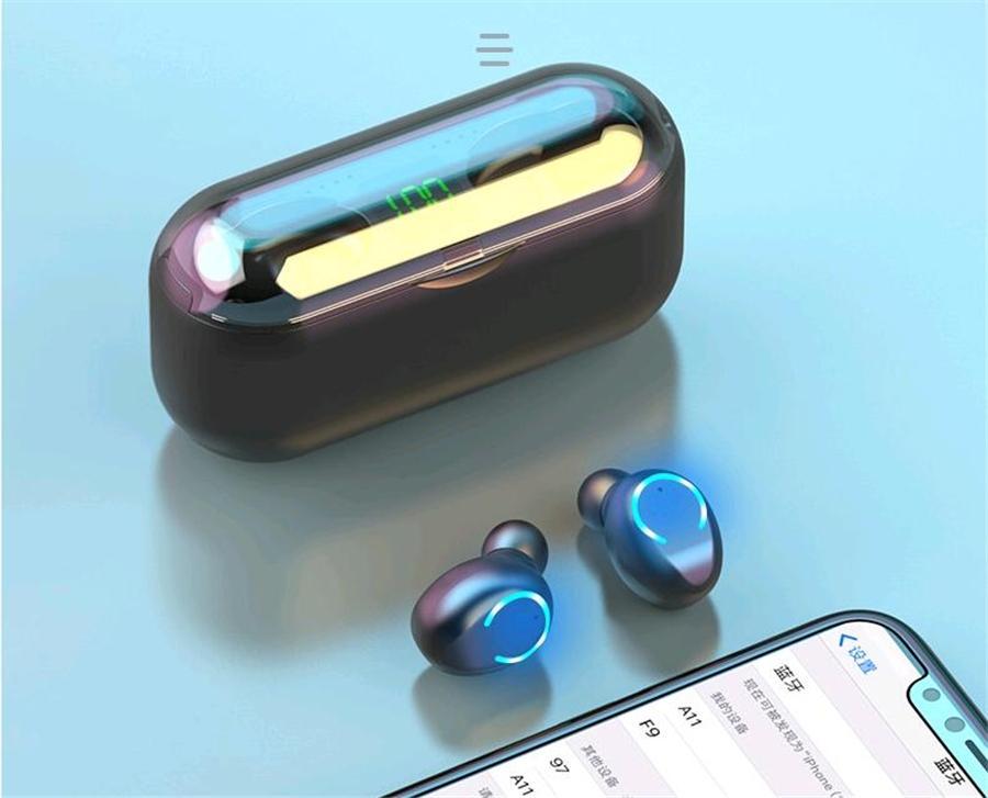 Verdadeira Bluetooth 5.0 fone de ouvido HBQ Tws sem fio Headphons Stereo Esporte Handsfree Earbuds 3D Gaming Headset Com Mic carregamento Box # OU617